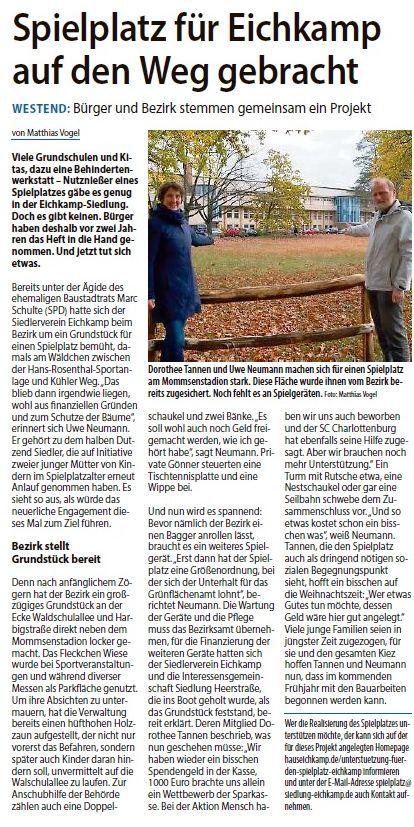Begegnungsspielplatz in der Berliner Woche