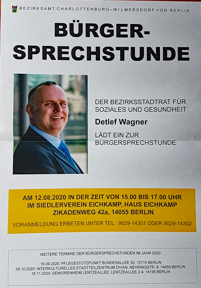 Bürgersprechstunde mit Bezirksstadtrat Detlef Wagner am Mittwoch, 12.08, 15-17 Uhr